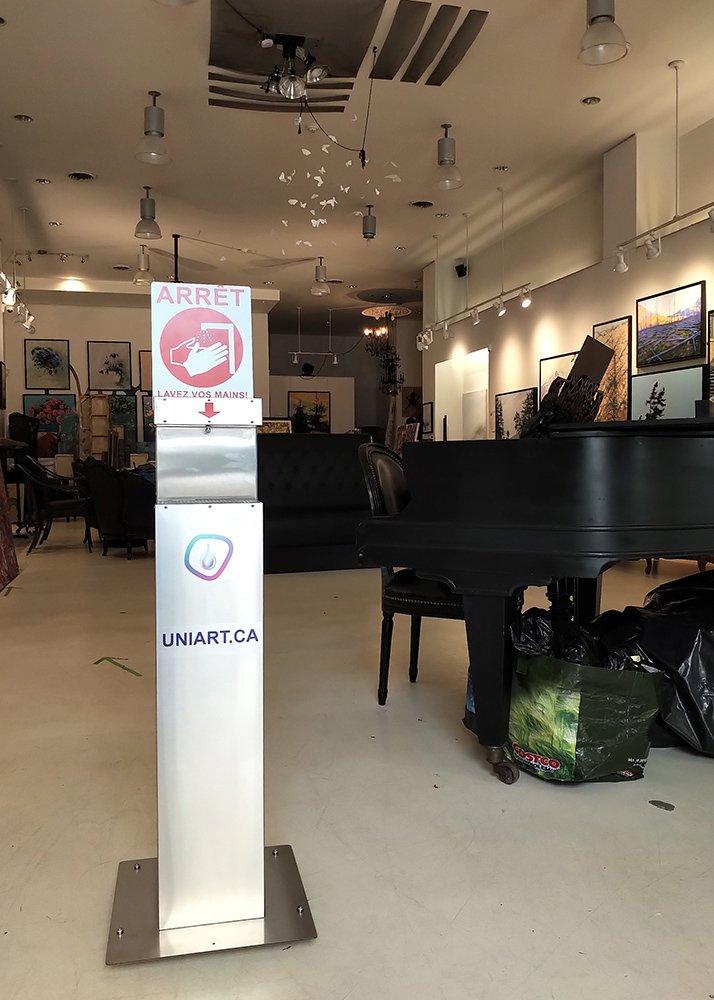 UniArt Touchless Hand Sanitizer Dispenser for art gallery